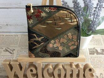 京都・西陣織・金襴の生地で仕立てた和柄のL字ポーチ  20cmファスナー     Lサイズの画像