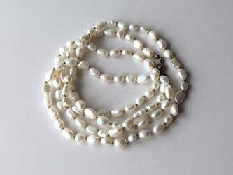 白い淡水パールのロングネックレス【受注制作】の画像