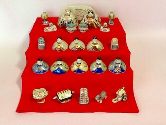 現品のみ 本焼陶器  陶雛十五人飾りセット  梅花の画像