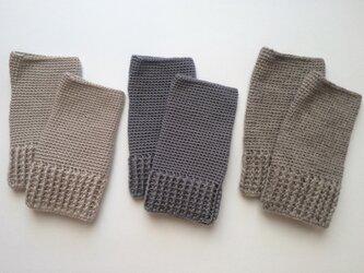 かぎ針編みのハンドウォーマーの画像