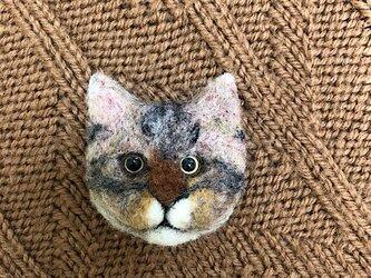 羊毛フェルトの猫のブローチの画像