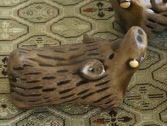 来年の干支、亥のお箸置(飴釉)の画像