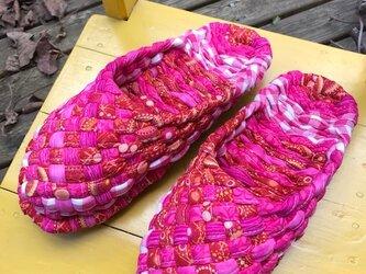 ピンクと赤のヨコスカスリッパ!再販です♪新しいこんこん草履♪の画像