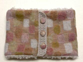 ドット幾何学模様(ピンク)+ふわふわプードルファーのネックウォーマーの画像