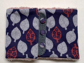葉っぱ柄(ブルー)+ふわふわシープボアのネックウォーマーの画像