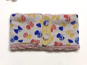 【即納可能】ボタンタイプ☆キッズサイズ☆ちょうちょ柄+ふわふわシープボアのネックウォーマーの画像