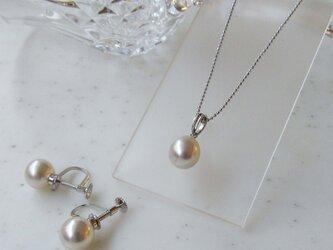 あこや真珠8.5mmネックレス&8.5mmイヤリングセット S-1の画像