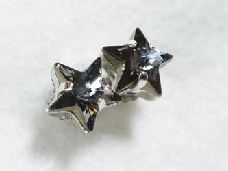 おおつぶスワロの星ピアス(クリスタルシルバーナイト )の画像