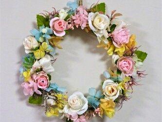 薔薇と紫陽花のリースの画像