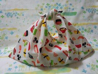 【手縫い】あづま袋☆横32㎝☆お寿司柄・白色☆お弁当袋・エコバック・バッグインbagの画像