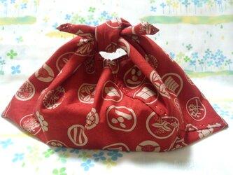 【手縫い】あづま袋☆横32㎝☆家紋和柄☆紅色地☆お弁当袋・バッグインbag・エコバックの画像