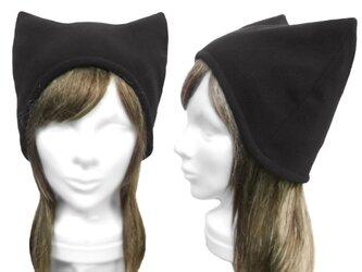 シンプル ネコ耳帽子(ゆったり)◆フリースニット/ブラックの画像