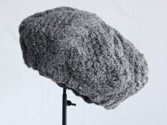 羊毛100% アラン模様ニットベレー (グレー)の画像