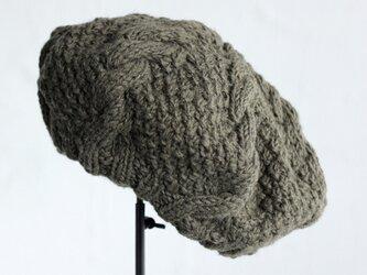 羊毛100% アラン模様ニットベレー (カーキ)の画像
