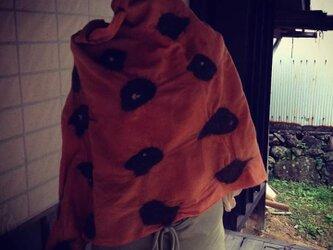 麻×ウール+羊毛のストール、茜染めの画像
