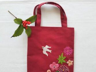 小鳥と花の和風ミニバッグの画像