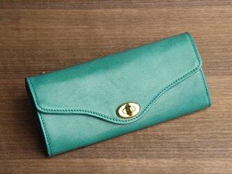 【送無】一点物!革の長財布 ---ひねり金具がかわいい人気の形 [ターコイズ色]の画像