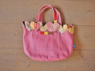 手織り ミニトートバッグ ハートハートハートの画像
