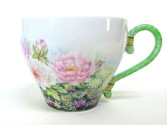 花園(牡丹)マグカップ(手描き)の画像