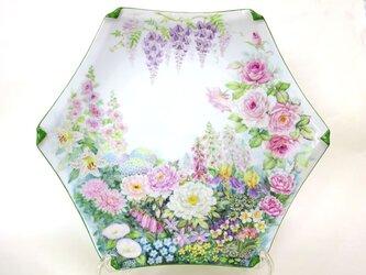 花園六角大皿(手描き)の画像