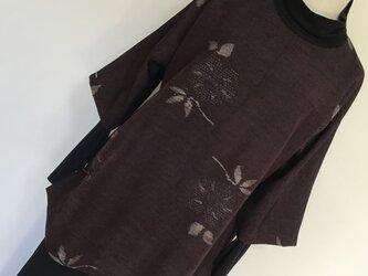 1225    着物リメイク    チュニック    七分袖    手織り真綿紬    焦げ茶色の画像
