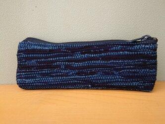 【再販】藍染め綿てぬぐいで裂き織りした☆ペンケース·メガネケース·マルチケースの画像