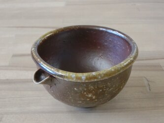 薪窯焼き締め片口型ぐい呑み(ちょっと大きめ) Fの画像