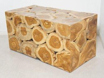 チーク 木製 ブロックスツール ロング ナチュラルの画像