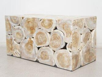 チーク 木製 ブロックスツール ロング ホワイトウォッシュの画像