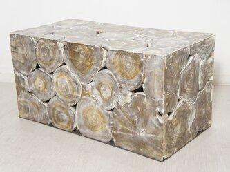 チーク 木製 ブロックスツール ロング ダークウォッシュの画像