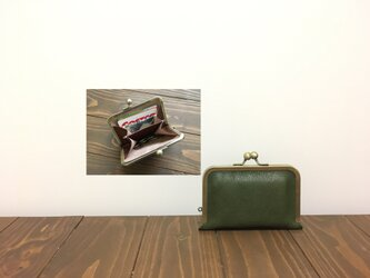姫路レザー 仕切り miniがま口財布◆仕切り1枚 カーキの画像