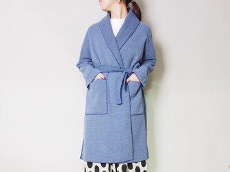 バイカラー パイピングコート (ブルー)の画像
