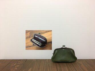 姫路レザー minimini親子がま口財布★アーチ型 カーキの画像