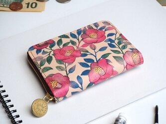 ラウンドファスナー コンパクト財布(ツバキ)牛革  花柄 レディース ILL-1145の画像