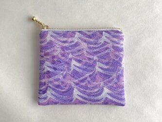 絹手染ミニポーチ(波・紫系)の画像