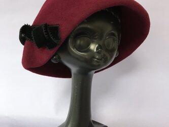冬帽体 ウールフェルト クロシェ(エンジ)の画像