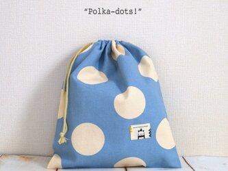 """お着替え入れ""""Polka-dots!""""ライトブルーの画像"""