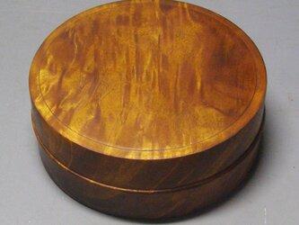 栃斑杢 蘇芳染ガラスコート仕上げ。  ミニ食籠 小筥 香盒にも の画像