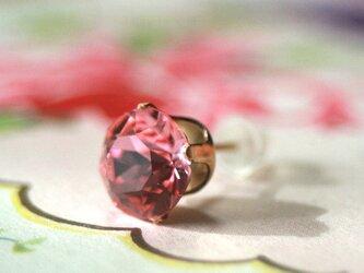 8mm*大粒 14kgf スワロフスキー ビジュー ピアス 片耳 ピンク クリスマス プレゼント ビジュー 結婚式 ウエディングの画像