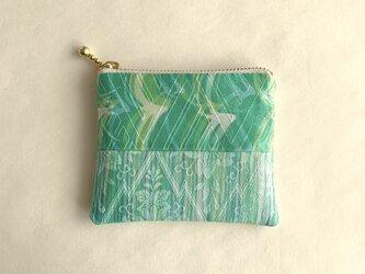 絹手染ミニポーチ(継・緑系)の画像