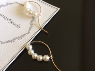 14kgf Vintage glass pearls funcy hoopの画像