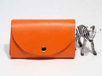 牛革★万能な小財布★オレンジ★お札からカードまで★旅行や買い物に(8C29)の画像