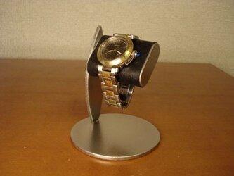 成人のお祝いの腕時計とともに腕時計スタンドを!   1本掛けだ円ブラック腕時計スタンドの画像