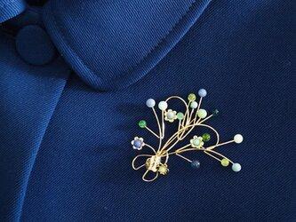 【送料無料】ブローチ・Bouquet(ブルー・グリーン)の画像