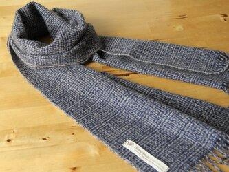 ホームスパン・カシミヤマフラー 変化織り・紺の画像