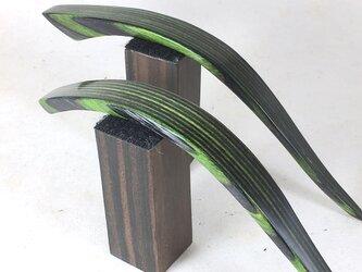 リーフグリーン色美しいです。木製かんざし 2タイプからの画像