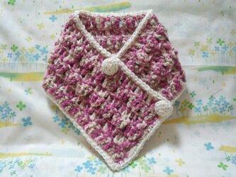 手縫い屋☆編み編み☆おしゃれネックウォーマー64㎝☆桃色混ざり&白☆くるみボタン2個☆ウール100%☆ギフトの画像