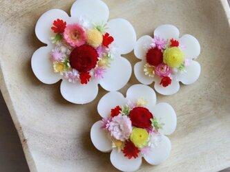 お花のサシェ3個セット*あか*プルメリアの香り<ドライフラワー/アロマワックスサシェ>の画像