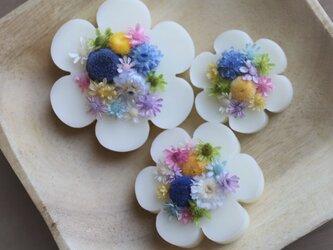 お花のサシェ3個セット*あお*グリーンティーの香り<ドライフラワー/アロマワックスサシェ>の画像