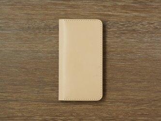 牛革 iPhoneXS MAXカバー  ヌメ革  レザーケース  手帳型  ナチュラルカラーの画像
